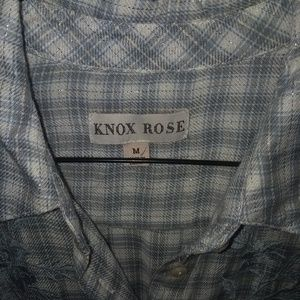 Knox Rose Tops - Knox Rose Embroidered Button Down Grey Blue Cream